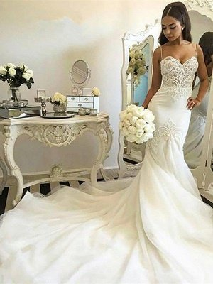 Tulle Cheap   Sexy Mermaid Spaghetti Straps Sleeveless Wedding Dresses UK_3
