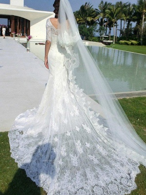 Applique Sexy Mermaid Square Cathedral Train Lace 1/2 Sleeves Wedding Dresses UK_3