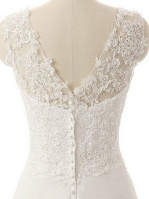 Sweep Train  A-Line Lace  V-Neck Sleeveless Wedding Dresses UK_4