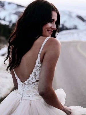 Ruched A-Line Floor-Length Tulle Cheap Sleeveless V-neck Wedding Dresses UK_3