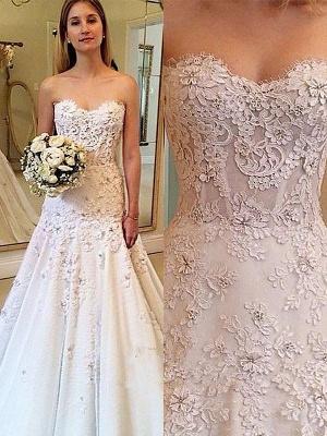 Sweetheart Lace Court Train A-Line Sleeveless Wedding Dresses UK_1