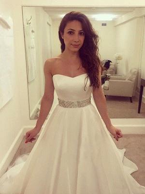 Sleeveless A-Line Sweep Train Sweetheart Tulle Beads Wedding Dresses UK_4