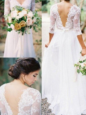Lace   V-Neck Floor-Length 1/2 Sleeves Applique A-Line Wedding Dresses UK_1