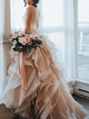 Lace Organza A-Line Sleeveless Sweep Train Sweetheart Ruffles Wedding Dresses UK_1
