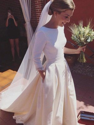 Sweep Train Ruffles A-Line Scoop Neckline Satin 3/4 Sleeves Wedding Dresses UK_3