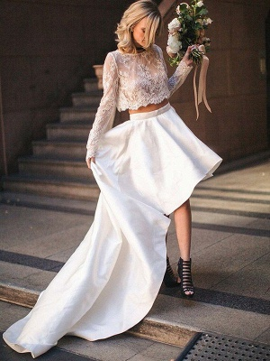 Two Piece A-Line Satin Long Sleeves Lace Scoop Neckline Sweep Train Wedding Dresses UK_1