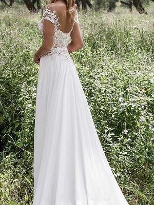 Sleeveless V-neck Lace  A-Line Floor-Length Wedding Dresses UK_3