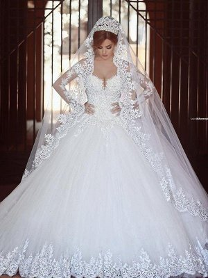 Long Sleeves Court Train Ball Gown Off-the-Shoulder Tulle Wedding Dresses UK_4