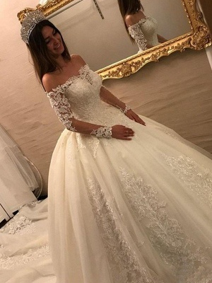 Cathedral Train Ball Gown Long Sleeves Applique Tulle Off-the-Shoulder Wedding Dresses UK_3