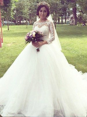 Long Sleeves Court Train Ball Gown Bateau Tulle Cheap Wedding Dresses UK_1