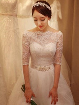 Tulle Ball Gown Beads Off-the-Shoulder 1/2 Sleeves Wedding Dresses UK_5