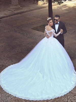 Long Sleeves Court Train Ball Gown Off-the-Shoulder Tulle Wedding Dresses UK_3