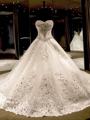 Sleeveless Applique Sequin Sweetheart Ball Gown Cathedral Train Tulle Wedding Dresses UK_1