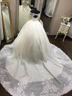 Cathedral Train Ball Gown Long Sleeves Applique Tulle Off-the-Shoulder Wedding Dresses UK_4