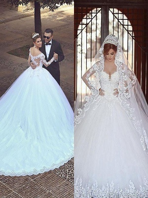 Long Sleeves Court Train Ball Gown Off-the-Shoulder Tulle Wedding Dresses UK_1