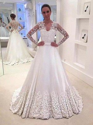 V-Neck Satin A-Line Sweep Train Long Sleeves Wedding Dresses UK_1