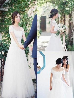 Short Sleeves Sweep Train A-Line Tulle Bateau Wedding Dresses UK_1