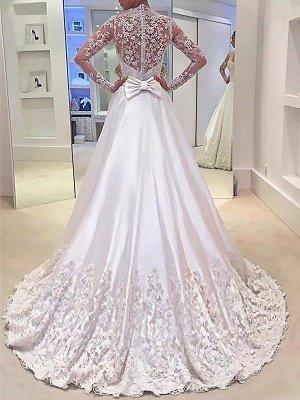V-Neck Satin A-Line Sweep Train Long Sleeves Wedding Dresses UK_3