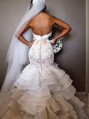 Organza Sleeveless Ruffles Sweetheart Applique Lace Sexy Mermaid Wedding Dresses UK_4
