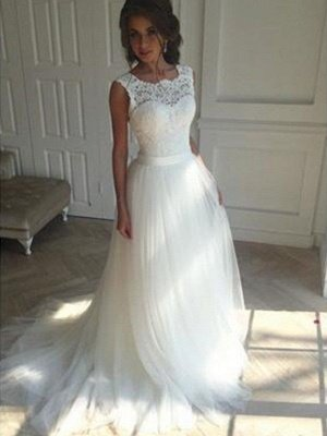 Tulle A-Line Square Court Train Sleeveless Wedding Dresses UK_1