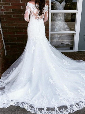 Applique Cathedral Train  Sexy Mermaid Tulle Cheap Long Sleeves Off-the-Shoulder Wedding Dresses UK_3