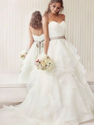 Organza A-Line Ruffles Sleeveless  Sweetheart Ribbon Wedding Dresses UK_1
