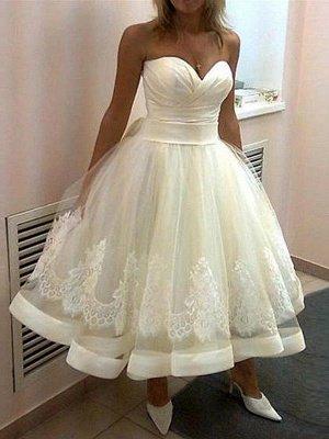 Tulle Cheap Sleeveless Applique Tea-Length Ball Gown Sweetheart Wedding Dresses UK_1