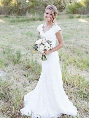 Sweep Train A-Line Lace  V-Neck Tulle Sleeveless Wedding Dresses UK_4