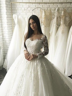 Applique Court Train Ball Gown Scoop Neckline Tulle Long Sleeves Wedding Dresses UK_4