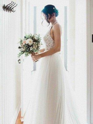 A-Line Lace Sleeveless Tulle Cheap Floor-Length Halter Wedding Dresses UK_4