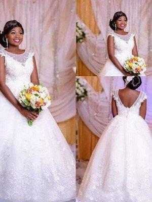 Ball Gown Applique Floor-Length Tulle Sleeveless Scoop Neckline Floor-Length Wedding Dresses UK_1