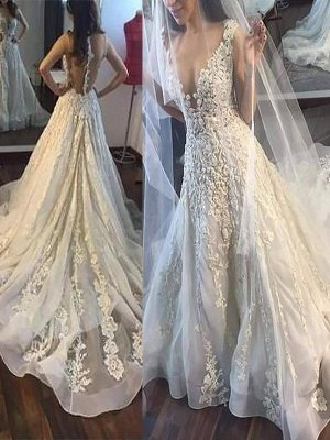 Court Train Sleeveless A-Line Tulle Cheap V-neck Applique Wedding Dresses UK_1