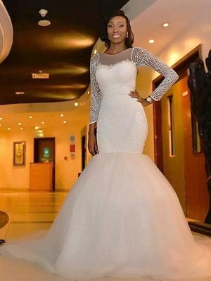 Long Sleeves  Sexy Mermaid Tulle Cheap Sweep Train Beads Scoop Neckline Wedding Dresses UK_3