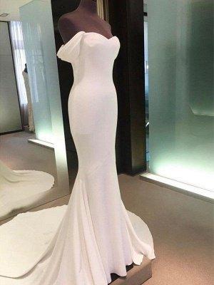 Short Sleeves Satin Sheath Court Train Off-the-Shoulder Wedding Dresses UK_5