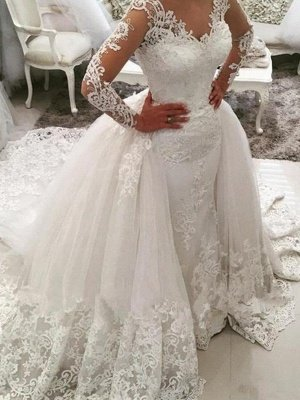 Long Sleeves  V-Neck Ball Gown Applique Lace Cathedral Train Tulle Wedding Dresses UK_1