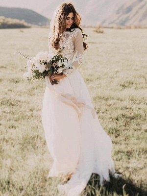 Long Sleeves Floor-Length Applique Tulle A-Line Scoop Neckline Wedding Dresses UK_3