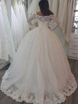 Sweep Train Applique Ball Gown Off-the-Shoulder Lace Long Sleeves Wedding Dresses UK_3