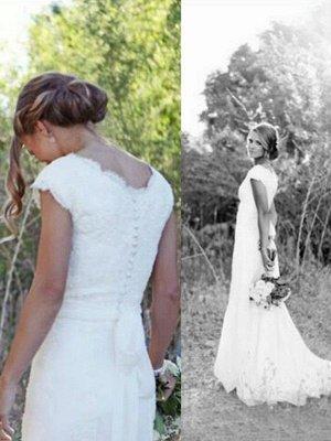 Sweep Train A-Line Lace  V-Neck Tulle Sleeveless Wedding Dresses UK_3
