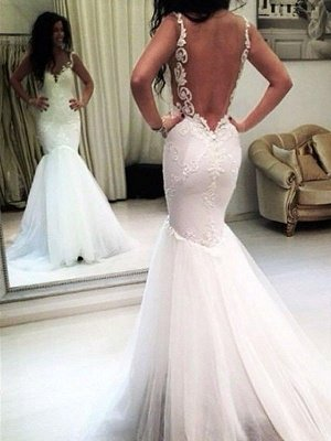 Applique  Sexy Mermaid Sleeveless  Tulle Cheap Spaghetti Straps Wedding Dresses UK_3
