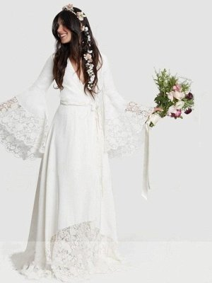 Floor-Length Lace A-Line Ribbon  V-Neck  Long Sleeves Wedding Dresses UK_6
