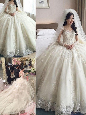 Applique Long Sleeves Ball Gown Cathedral Train Lace Tulle Cheap Scoop Neckline Wedding Dresses UK_4