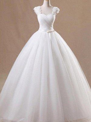 Ruffles Tulle Ball Gown Square Floor-Length Sleeveless Wedding Dresses UK_1