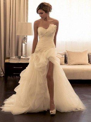 Beads Organza Sweep Train Sweetheart Sleeveless Ball Gown Wedding Dresses UK_1