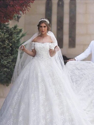 Lace Court Train Ball Gown Short Sleeves Tulle Off-the-Shoulder Wedding Dresses UK_1