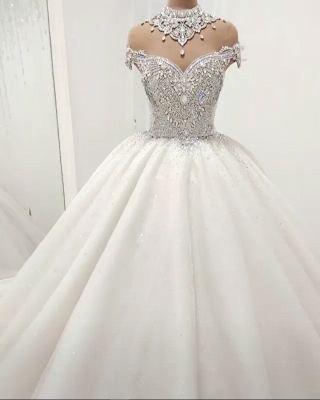 Glamorous High Neck Crystal Beads Ball Gown Wedding Dresses UK_1