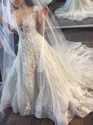Court Train Sleeveless A-Line Tulle Cheap V-neck Applique Wedding Dresses UK_3