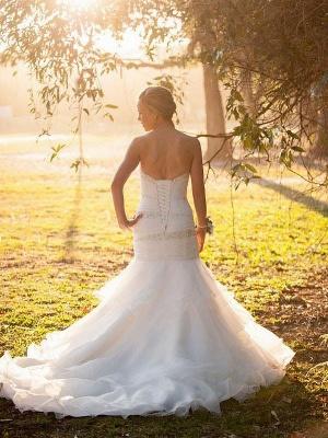 Sweetheart  Sexy Mermaid Tulle Cheap Sleeveless Court Train Wedding Dresses UK_3