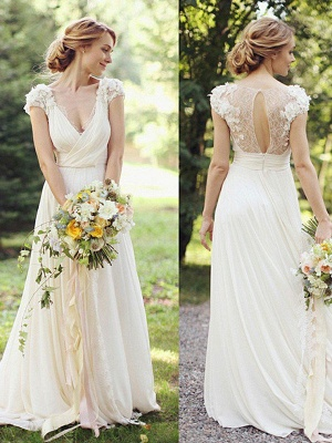 Floor-Length A-Line Ruched  V-neck Short Sleeves Wedding Dresses UK_1