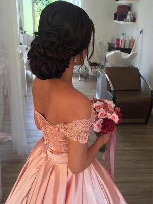 Satin Off-the-Shoulder Ball Gown Cathedral Train Sleeveless Ruffles Wedding Dresses UK_3