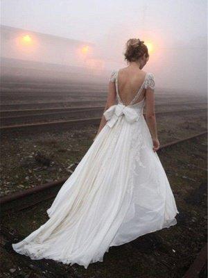 A-Line Sleeveless V-neck Floor-Length Lace Wedding Dresses UK_3